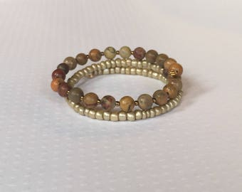 Brown and gold beaded double wrap, memory wire bracelet, stack bracelet, boho jewelry