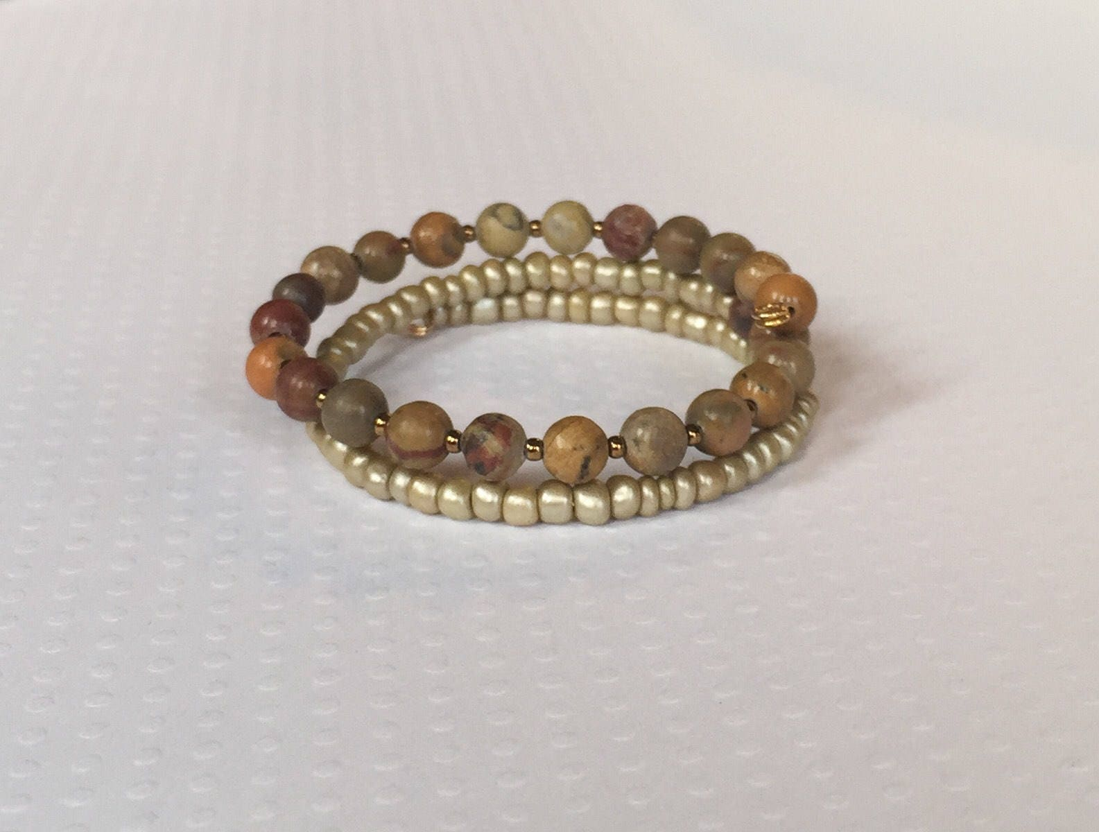 Brown and gold beaded double wrap, memory wire bracelet, stack ...
