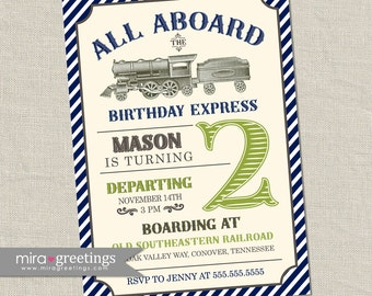Vintage Train Birthday Party Invitation - All Aboard Train Invite Classic Train Birthday blue and green train (Printable Digital File)