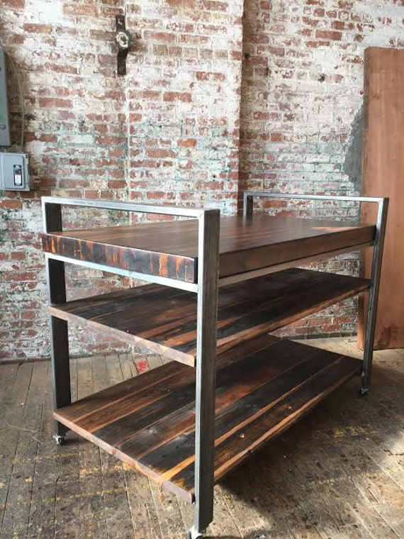 Industrial Kitchen Island Butcher Block / Shelving