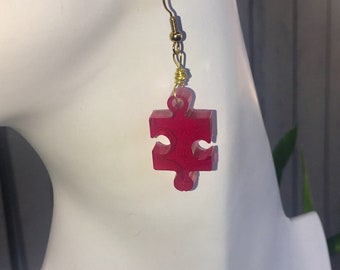 Earrings red resin puzzle piece