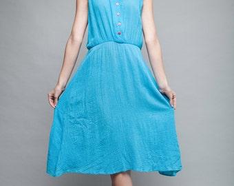 vintage 70s gauzy cotton day dress blue sleeveless casual midi ONE SIZE S M L small medium large