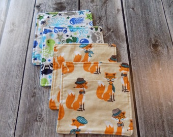 Reusable washable wipes, Baby wipes, Family wipes,  Foxes and Ocean