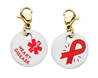 Heart Disease Medical Alert Bracelet Charm - Medium - 19