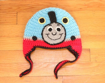 Train Hat with Earflaps, Crochet Train Hat, Kid's Train Hat