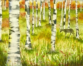 Original Watercolor Painting Aspen Tree Art Horse Decor Horse Art Colorado Art Office Decor Anniversary Gift Western Decor