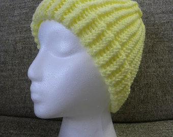 Bright Yellow Child's Knit Hat with Flecks of Shimmer
