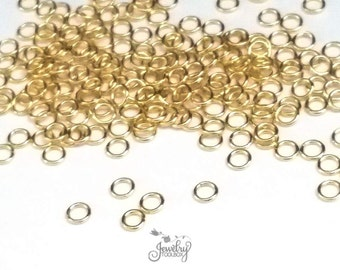 Gold Jump Rings, Stainless Steel, Non Tarnish Jewelry Making Supplies, Gold Findings Components, Choose Your Size, Lot Size 100
