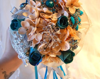 Blue and Cream Brooch Bouquet