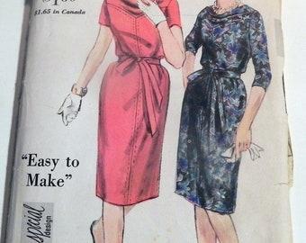 "1960s Slim Dress Easy Cowl Neckline Yoke special design vintage sewing pattern Vogue 4201 Size 14 bust 34"" rockabilly"