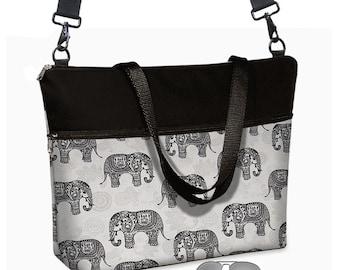 "Elephant Paisley 17 inch Laptop Tote Bag Womens Briefcase  Laptop Shoulder Bag 15.6""  pockets zipper black gray MTO"