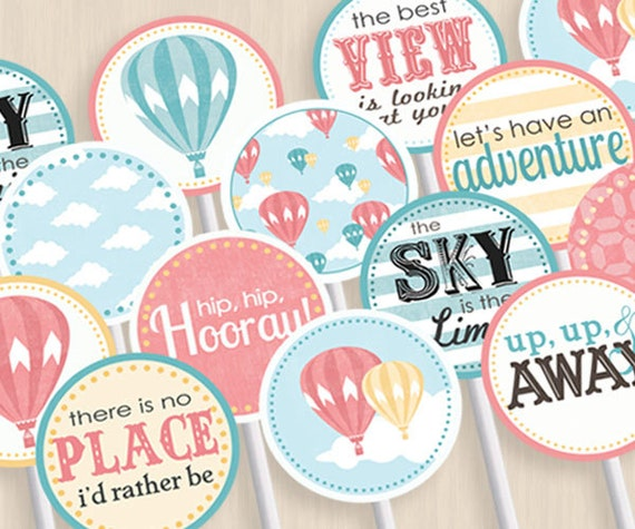 HOT AIR BALLOON Baby Shower Party Circles U0026 Cupcake Toppers In
