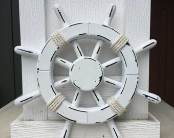 Rustic White Nautical Ship Wheel - Decorative ship's wheel - Wood ship wheel - Vintage ship wheel - nautical decor - vintage beach decor 026
