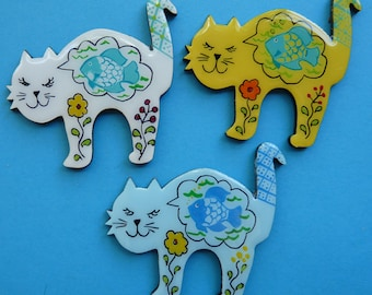 Whimsical Fish Dreams Kitty Cat Pin, Magnet or Ornament - Free Shipping - Hand Painted