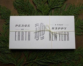 New Years Cards - SET OF 6 - Peace on Earth and A Happy New Year - 2018 New Year's Cards - new year cards - Letterpress New Year Cards