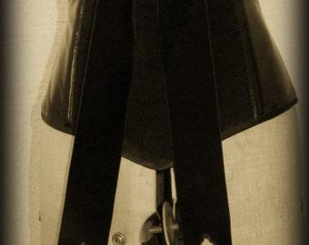 "26"" Black velvet and PVC underbust corset with oversized bow"