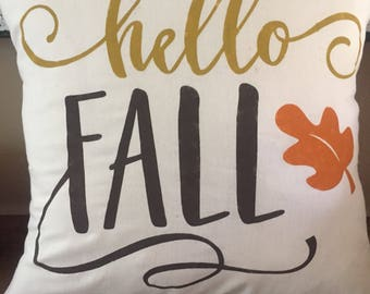 Hello Fall Pillow-Autumn-Fall Home Decor-Leaves-Fall Colors-Halloween-Thanksgiving-Throw Pillow-Hand Painted