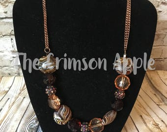 2 Copper chains and Brown fall bead necklace