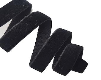 Black Velvet Elastic Ribbon Trim, Black Plush Rubber Trim, Velvet Trim