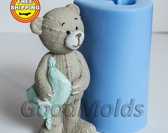 Bear with a Pillow 3d Mold Soap Mold Silicone Molds Mold for Soap Mold Silicone Mold Bear Mold Free Shipping