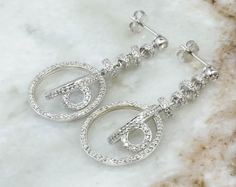 14K White Gold 1.00ctw Diamond Accented Open Circle Dangle Pierced Earrings