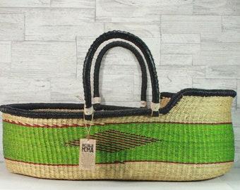 Moses Basket, Basinet - Bright Green Stripe
