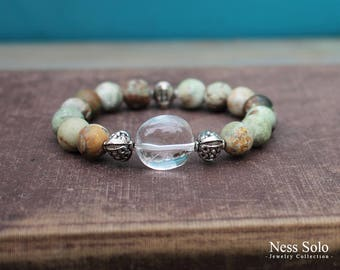 Earthy bracelet Brown Green gemstone bracelet Crystal bracelet Rustic jewelry Beaded Boho bracelet Earthy jewelry witchy bracelets