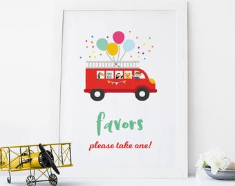 Fire truck favors sign, Boys 1st birthday party favors sign boys, First birthday Party favors sign, Printable Fire truck party favors sign