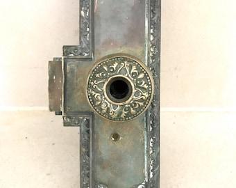 Antique Brass Door Knobs, Doublesided Backplates & Mortise Lock / Victorian Era Door Knob Set / Ornate Door Knob