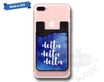 Delta Delta Delta Watercolor - Tri Delta Water Color - Phone Caddy - Sticker Pocket Wallet - Personalized Cell Phone Pocket PC 1080