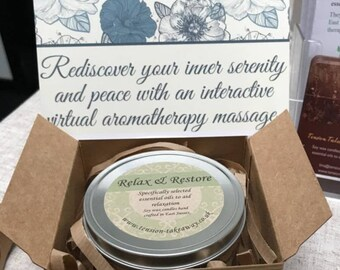 Relax & Restore Large Candle with a 40 minute Virtual Aromatherapy Massage download Gift Set