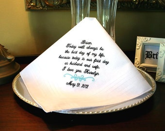 Groom Wedding Gift Handkerchief -Hankie - Hanky - Best day of my life - First day as HUSBAND and WIFE - Gift for Groom from Bride -Weddings