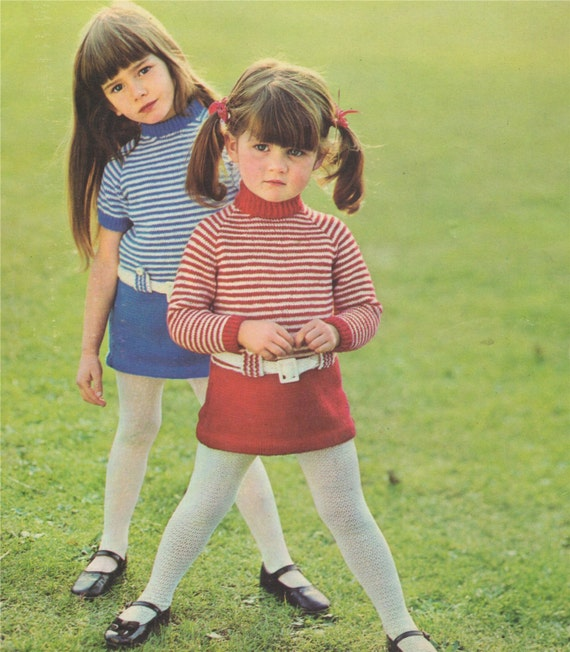 Girls Dress Knitting Pattern Pdf Toddlers 22 24 And 26 Inch Chest
