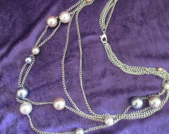Vintage 80s 4 strand silver tone chains with assorted pastel colored pearls