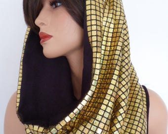 gold sequin snood, festival hood, hologram snood, gold sequin scarf, festival clothing