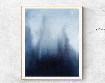 Indigo Art Print, Abstract Watercolor Art, Abstract Art Print, Indigo Watercolor Print, Modern Blue Wall Art, Modern Watercolor Print,