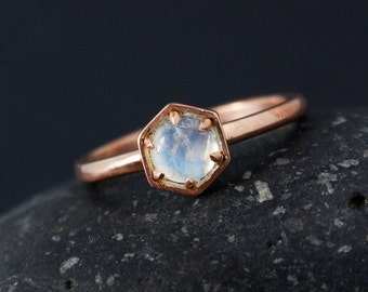 Hexagon Ring - Rainbow Moonstone Ring - Geometric Ring, Choose Your Setting