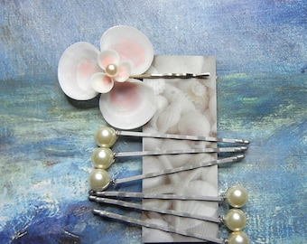 Seashell Pearl Bobby Pins - Pink Seaflower and Pearls