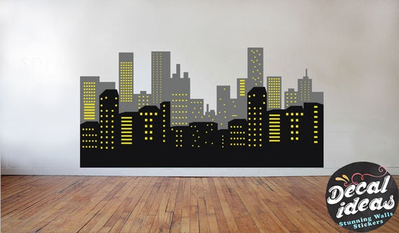batman skyline aufkleber wandtattoo skyline von batman. Black Bedroom Furniture Sets. Home Design Ideas