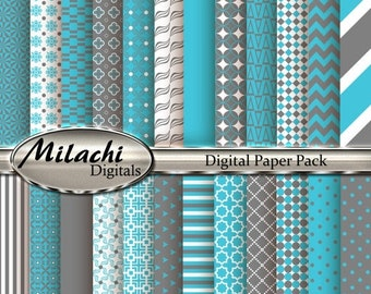 60% OFF SALE Turquoise and Gray Digital Paper Pack, Scrapbook Papers, Commercial Use - Instant Download - M180