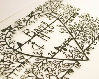 Wedding papercutting, papercut family tree, unique wedding gift, paper anniversary, 1 year anniversary