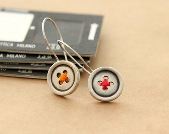 Buttons, sterling silver  dangle earrings