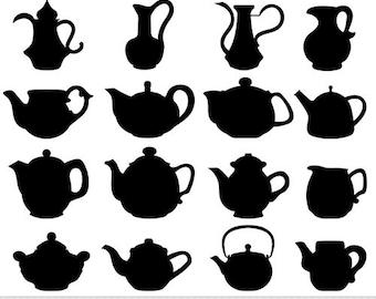 Teapot Clipart Vector Teapots Clip Art Tea Time Kitchen Digital Scrapbooking Silhouette Tea Party Invitations Card Making Logo