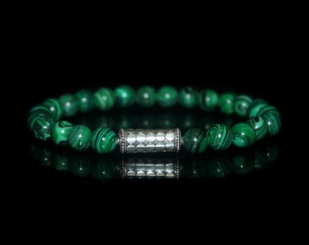 Men's Bracelet, For Men, Malachite and Sterling Silver Bracelet, Mens Bracelet, Man's Bracelet, For Man,Bead Bracelet, Bracelet for Man