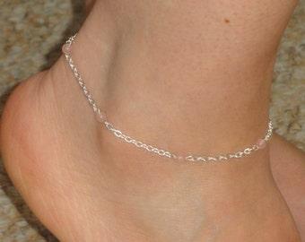 Silver rose quartz anklet, Rose quartz ankle bracelet, Ankle jewelry, Ankle bracelet UK, Gifts, Gemstone anklet