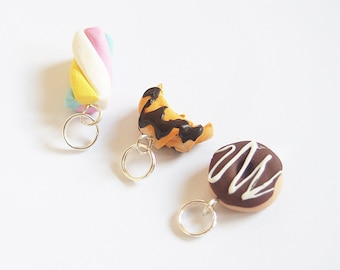 Miniature Food Stitch Markers ( croissant charm marshmallow charm doughnut charm food keyring food charms polymer clay )