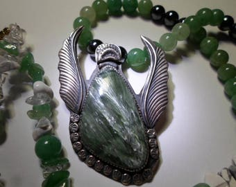 Angel Pendant... Seraphinite gemstone in sterling silver...