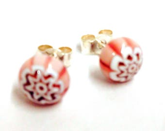 Murano Glass Millefiori Stud Earrings - Pink Flower Design on Sterling Silver Stud Post