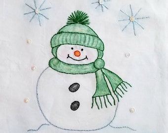 Snowman Crayon Tinted Hand Embroidery PDF Pattern and Instructions by Seasons of Joy on Etsy//Beginner//Digital Download