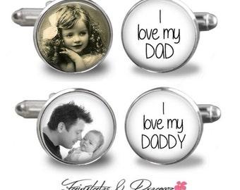 DAD Photo Cufflinks - Mens Cuff Links- Daddy - Memorable Keepsake - Photo Cufflinks -  Dad Gift - Fathers Day- Birthday- Gifts for him